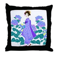 Funny Geisha Throw Pillow