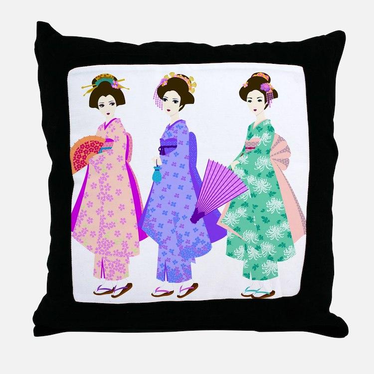 Cute Geisha girls Throw Pillow