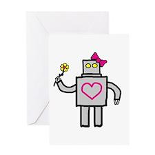 """Girly Robot"" Greeting Card"