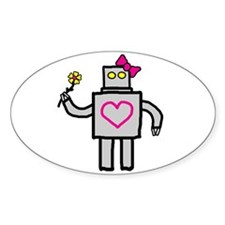 """Girly Robot"" Oval Decal"