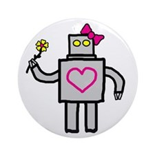 """Girly Robot"" Ornament (Round)"