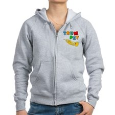 Colorful Trumpet Text Zip Hoodie