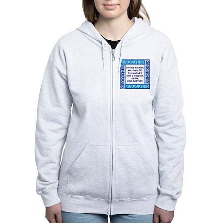 Blue Geocacher Lost Mind Women's Zip Hoodie