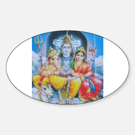 Shiva Parvati Ganesh ji Oval Stickers