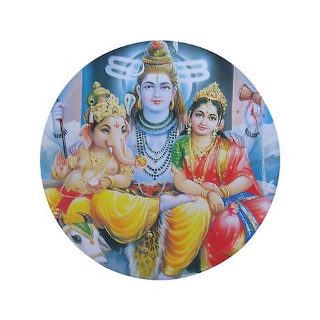 "Shiva Parvati Ganesh ji 3.5"" Button"