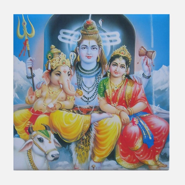 Shiva Parvati Ganesh ji Tile Coaster