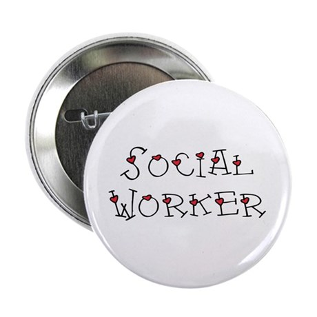 Social Worker Hearts Button