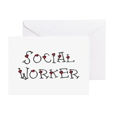 Social Worker Hearts Greeting Cards (Pk of 10)