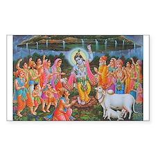 Krishna Govardhana Rectangle Stickers