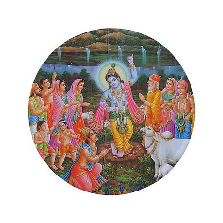 "Krishna Govardhana 3.5"" Button"