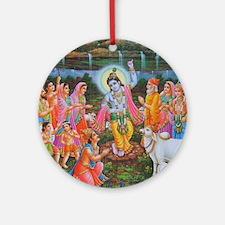 Krishna Govardhana Ornament (Round)
