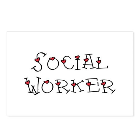 Social Worker Hearts Postcards (Package of 8)
