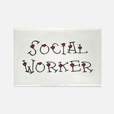 Social Worker Hearts Rectangle Magnet