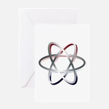 Atomic Symbol Red, White and Blue Greeting Cards