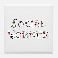 Social Worker Hearts Tile Coaster