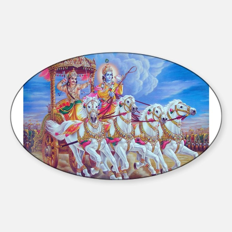 Krishna Arjuna Oval Decal