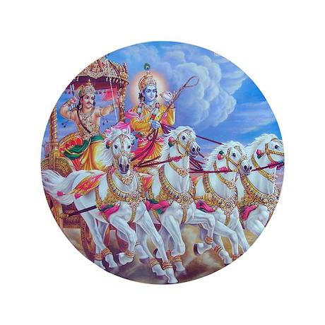 """Krishna Arjuna 3.5"""" Button"""