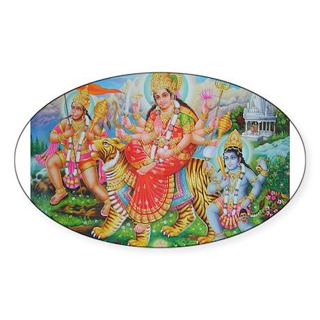 Durga Mata Oval Sticker