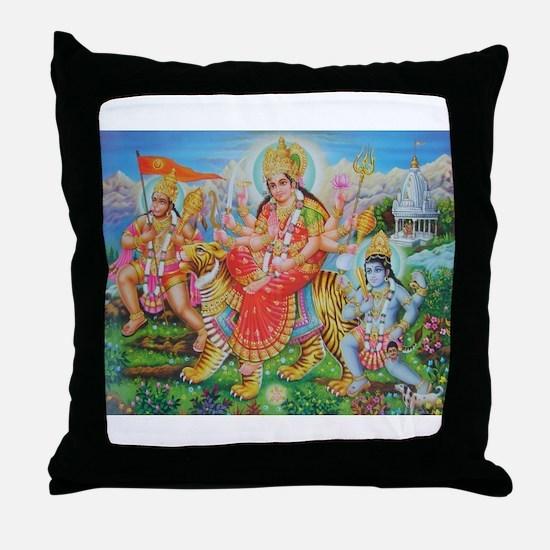 Durga Mata Throw Pillow