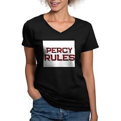 percy rules Women's V-Neck Dark T-Shirt