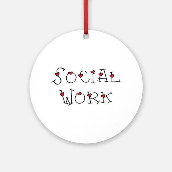 Social Work Hearts (Design 2) Ornament (Round)