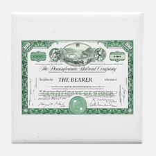 PRR 1959 Stock Certificate Tile Coaster