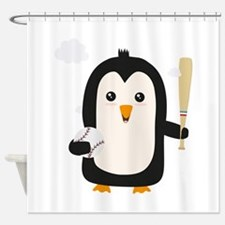 Penguin Baseball Player with Ball C Shower Curtain