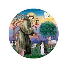 "St Francis / (B&W) Cat 3.5"" Button"