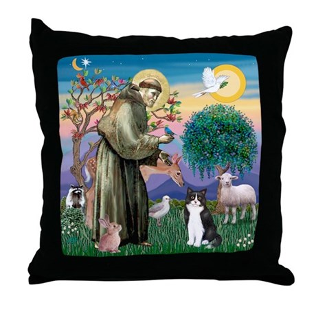St Francis / (B&W) Cat Throw Pillow