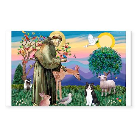 St Francis / (B&W) Cat Rectangle Sticker
