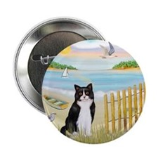 """Rowboat / (B&W) Cat 2.25"""" Button (10 pack)"""