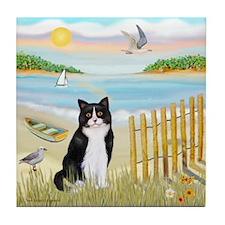 Rowboat / (B&W) Cat Tile Coaster