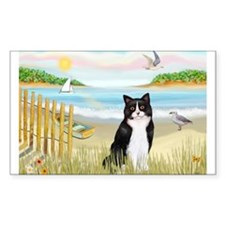 Rowboat / (B&W) Cat Rectangle Decal