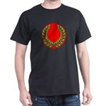 Red with Green Laurel Black T-Shirt
