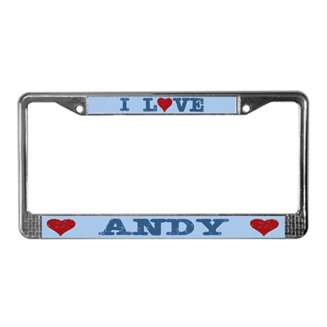 I Love Heart Andy License Plate Frame