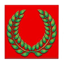 Green on red laurel Tile Coaster