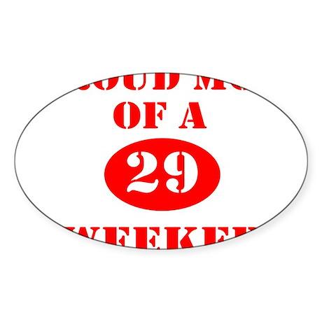 Proud Mom 29 Weeker Oval Sticker (10 pk)