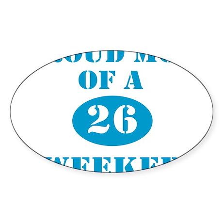Proud Mom 26 Weeker Oval Sticker (10 pk)