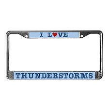 I Love Heart Thunderstorms License Plate Frame