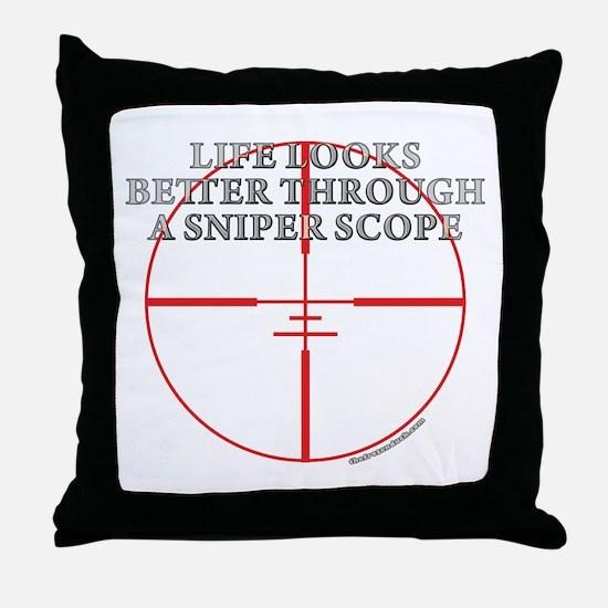 Life Through a Sniper Scope Throw Pillow