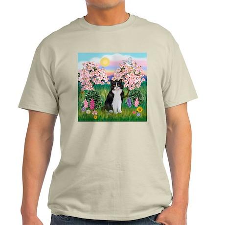 Blossoms/Tuxedo Cat Light T-Shirt