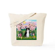 Blossoms/Tuxedo Cat Tote Bag