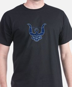 Blue Robot Head Black T-Shirt