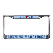 I Love Runing Marathons 26.2 License Plate Frame