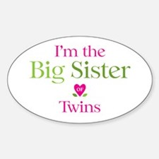 Big Sister of Twins Oval Sticker (50 pk)