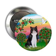 """Bright Country / (B&W) Cat 2.25"""" Button"""