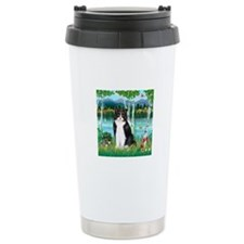 Birches / (B&W) Cat Travel Mug