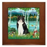 Black white cat Framed Tiles