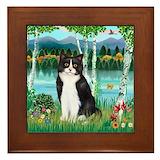 Black white cat Framed Tiles