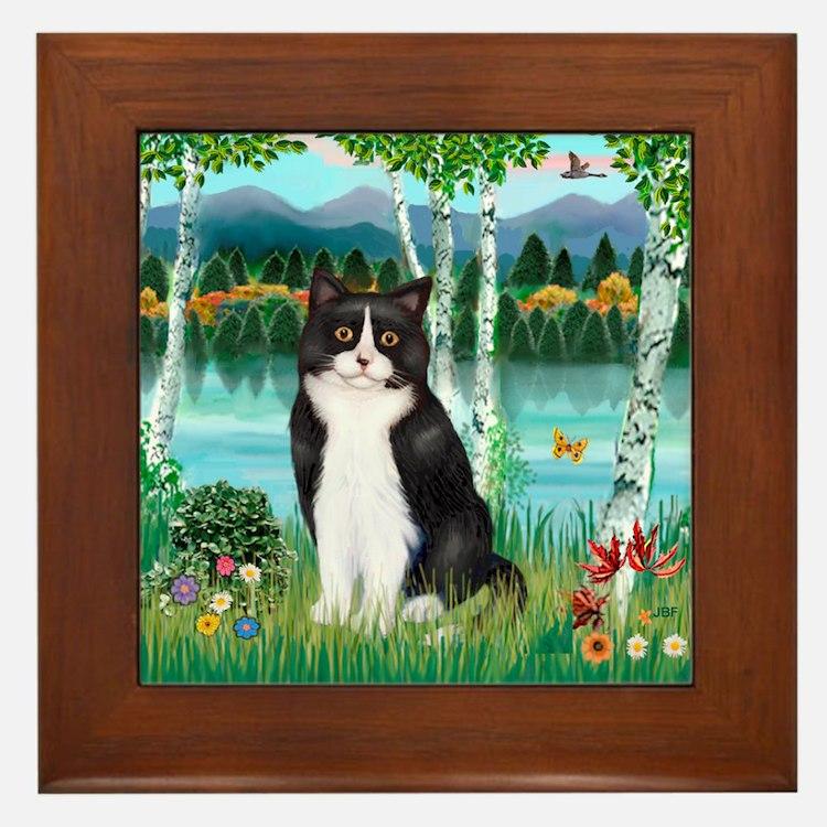 Birches / (B&W) Cat Framed Tile
